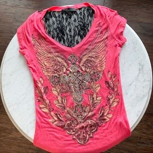 Angles & Diamonds Coral T-Shirt Lace Detail Small